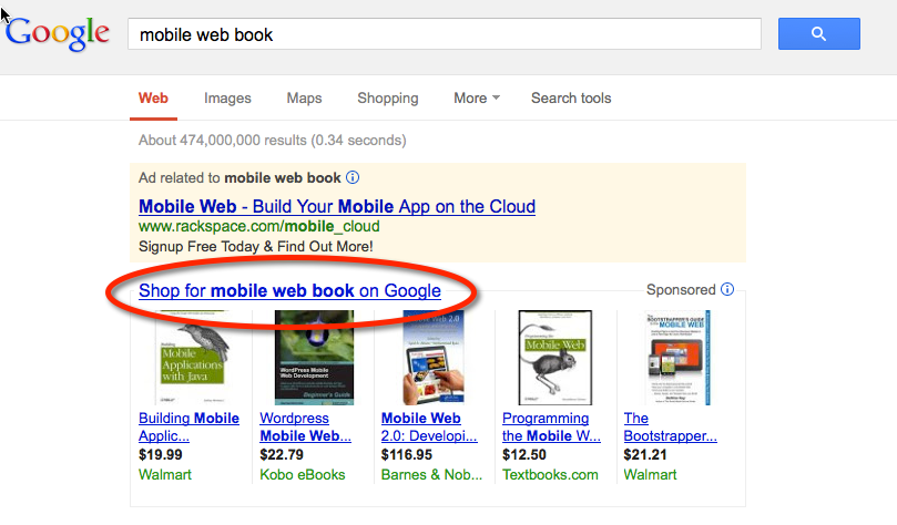 Shopping One Box in Search Results