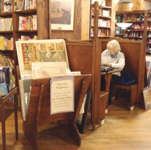 Old lady in bookstore