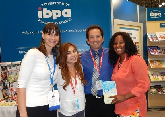 We'll see you next year! From left to right: Angela Bole (IBPA Executive Director), Mimi Le (IBPA Project Coordinator), Terry Nathan (IBPA Chief Operations Officer), and Ebony At Peace (IBPA member and author/publisher of DEBT FREE BY 30 & BEYOND)