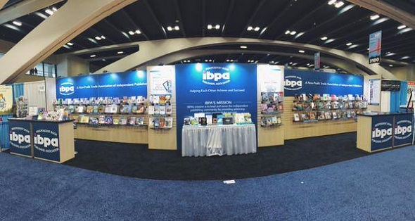 A panoramic shot of IBPA's Cooperative Booth at the 2015 ALA Annual Conference