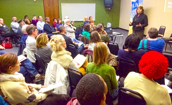 Literary Attorney Jean Makene packed the house at a St. Louis Publishers Association (SLPA)  meeting in November.
