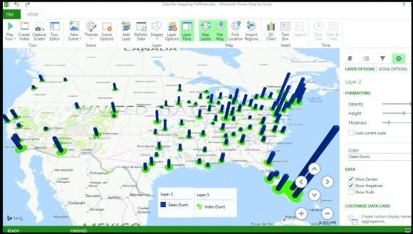 Figure 4—The PowerMap plugin for Excel can generate robust maps for any set of geographic data you've got. This map shows the top markets for sales (blue bars) of Alice Hoffman's The Marriage of Opposites against a green index of the cities where there is a higher frequency of purchases of this book per capita. Cities with big green spots and tall towers are good targets for any follow up by the author or launching a comp title. Look at Florida, for instance.