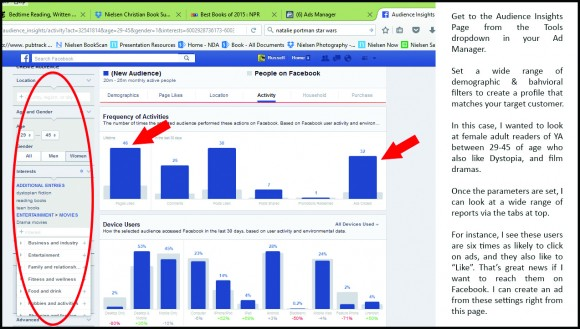Figure 2—A view of the Facebook Audience Insights interface. This robust tool is a fantastic research resource, even if you never use it to create ads. Set a wide range of filters and see exactly what fans of a particular genre, brand, age, or demographic profile are liking, clicking on, and using to get online.