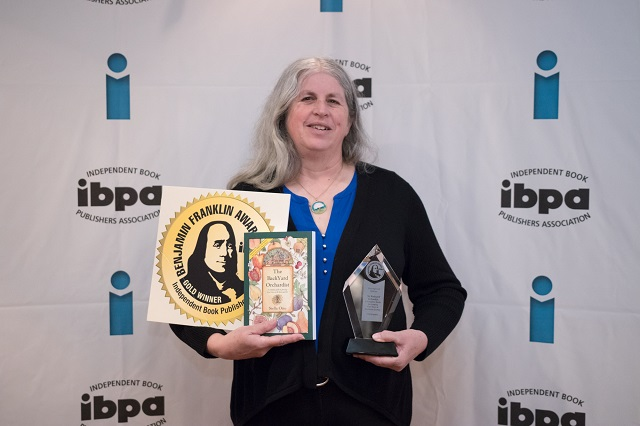 Stella Otto accepts a Gold IBPA Benjamin Franklin Award™ on April 7, 2017  for The Backyard Orchardist in the category of BEST REDESIGN. - Redesigning With The Times: The Backyard Orchardist - IBPA