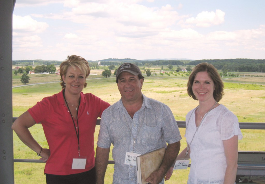 Looking out from Gettysburg's Longstreet Tower, Savas Beatie's account manager Helene Dodier (on the left), managing director Theodore P. Savas, and marketing director Sarah Keeney at the scene of the Confederate attack that took place on July 2nd, 1863.