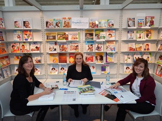 The team from Gryphon House await their first meeting during the 2014 Frankfurt Book Fair. From left to right: Jennifer Lewis, General Manager, Sara Pfeiffer, Rights Assistant, and Jenna Roby, Marketing and Research Specialist.