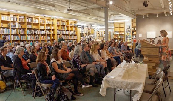 The scene at Powell's as Forest Avenue Press launched its scond anthology, The Night, and the Rain, and the River.