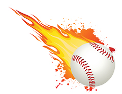 Baseball with flames