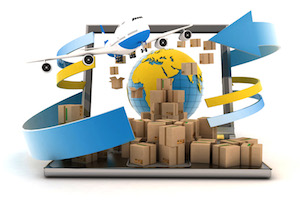 Cardboard boxes around the globe on a laptop screen and airplane. Concept of online goods orders wor