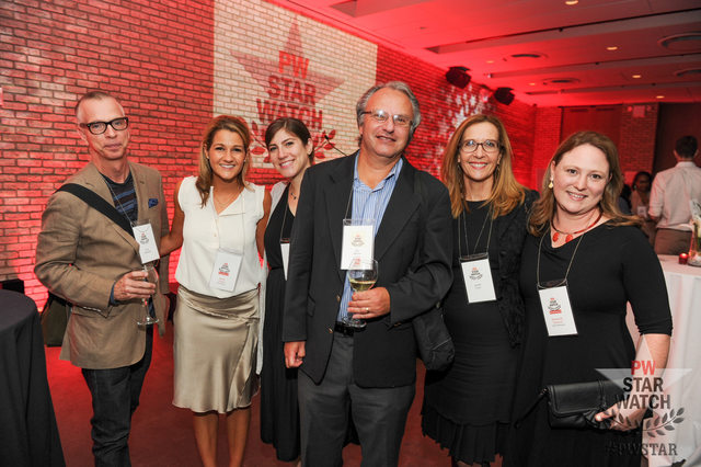 Elizabeth Turnbull (far right) with Publishers Weekly's Jim Milliot (third from right) and others at the September 15, 2016 Publishers Weekly StarWatch event in New York City
